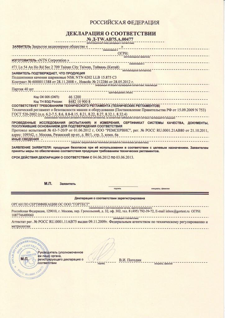 Декларация соответствия ТР